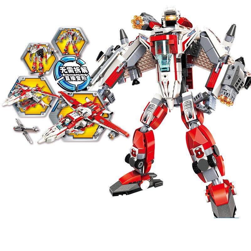 763pcs Children s educational building blocks toy Compatible city Explosive Ranger Phantom Knight Deformation Robot