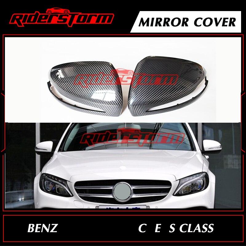 Углеродного волокна зеркало заднего вида крышки шапки зеркало боковой двери крыло для Mercedes Benz C/E/S Class w205 2015 + Замена Авто Запчасти