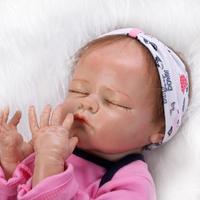 20 inch/2,4 Кг для девочек закрытыми глазами Высокое качество одноцветное силиконовые куклы Reborn Baby Born всего тела живой силиконовая куклы с одежд