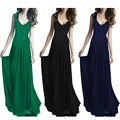 Hot maxi dress vestido sem mangas com decote em v sexy escavar vestidos de renda 2016 mulheres summer dress vintage longo vestido de baile party dress