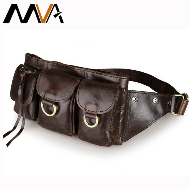 MVA Pillow Chest Waist Bags Money Belt Bag Men Wallet Belt Genuine Leather Men Bags Leather Waist Pack Fanny Pack Small Bag