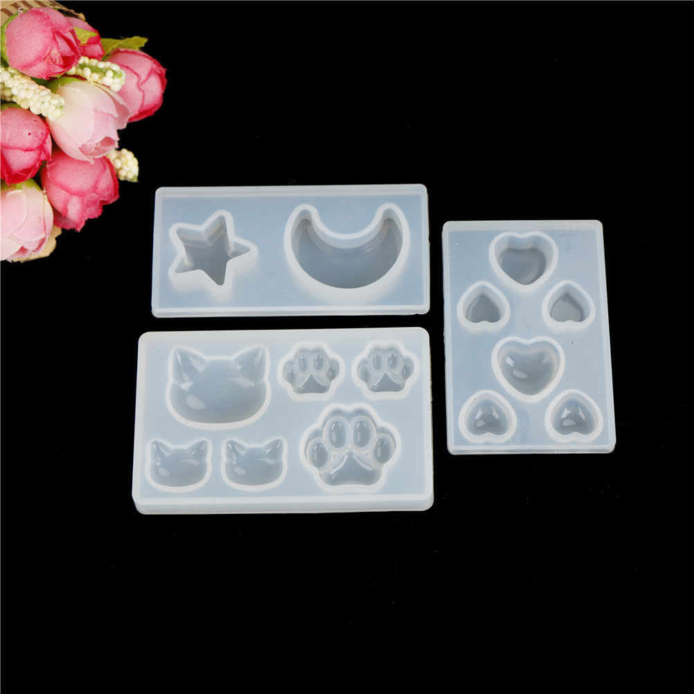 1pcs hot sale DIY resin pendant necklace pendant  mold resin molds Cat cat claw moon star heart Liquid silicone mold
