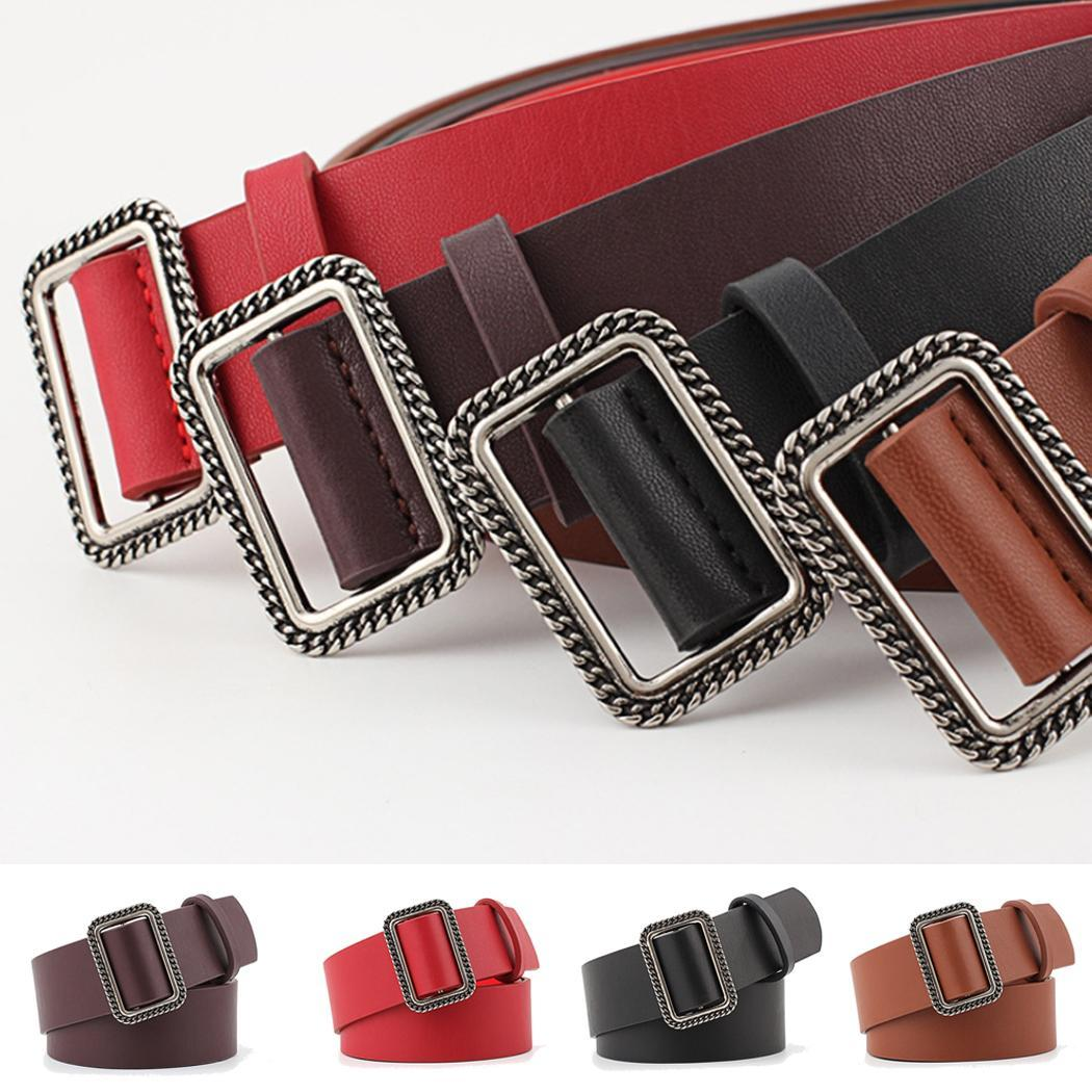 Women Casual Solid Square Soft Waistband Belt Adjustable Leather Waist Belt Suitable for any adult women(China)