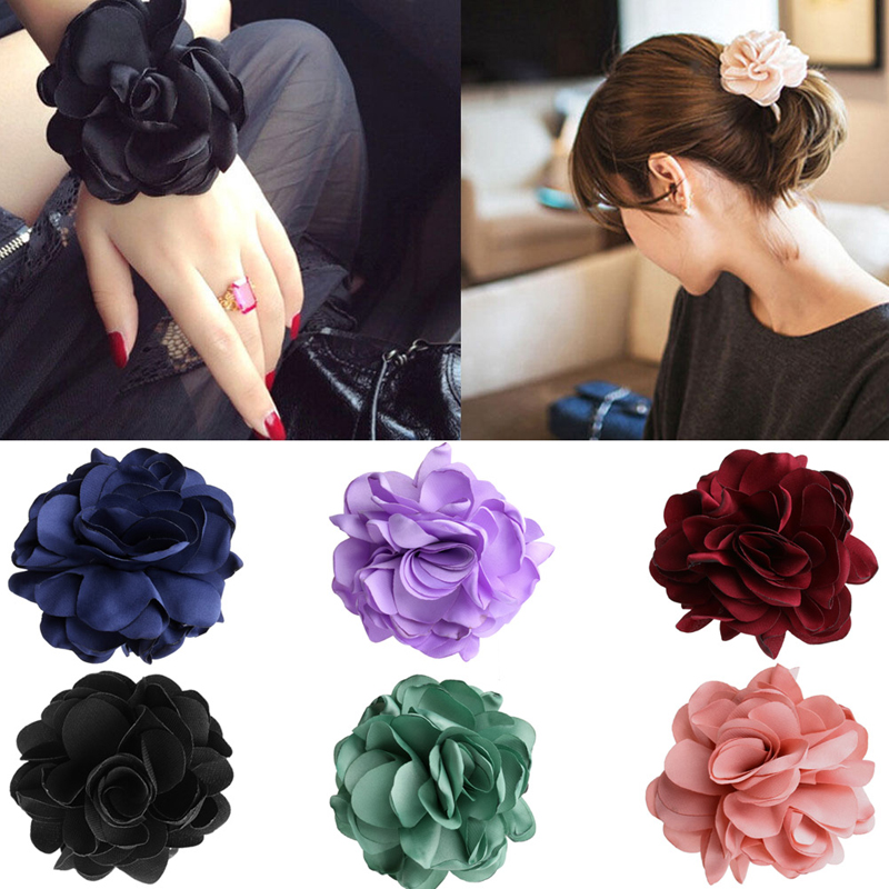 Women Girls Hair Band Elastic Rose Flower Ponytail Holder Scrunchie Hair Accessories New gorgeous faux feather elastic hair band for women