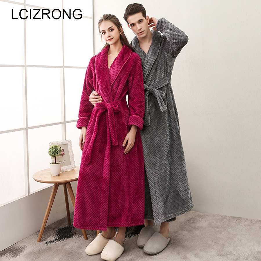 Winter Couple Thick Long Bathrobes Women Plus Size Flannel Sexy Ankle-Length Dressing Gown Warm Soft Unisex Lounge Robe