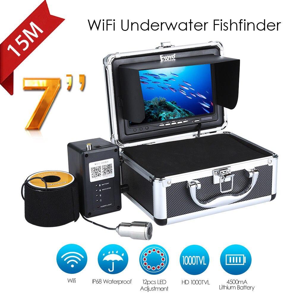 EYOYO WF13W-15M 7 15M HD 1000TVL 12VDC Underwater IP68 Night Vision 4500mAh LCD Monitor Fishing Camera Video Fishfinder Fish