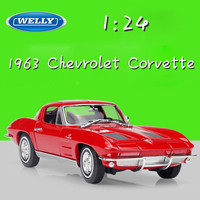 WELLY 1:24 Scale Model Car 1963 Chevrolet Corvette Diecast Toy Car Metal Classic Alloy Cars Toy For Children Gifts Collection