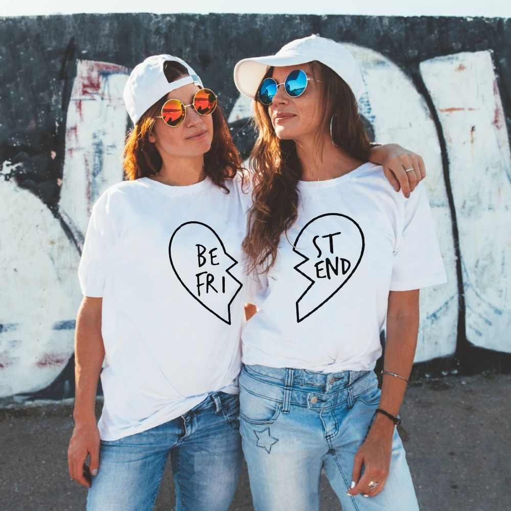 Лучший друг 2019 Новая Женская хлопчатобумажная рубашка Harajuku Эстетическая Футболка женская короткий рукав плюс размер Пара футболка Топ с сердечком тройники