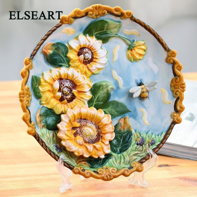 Ceramic Wall Flower Decor: Ceramic Handicraft Yellow Flower Wall Plate Porcelain Dish