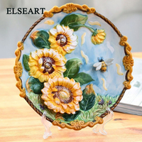 Ceramic handicraft yellow flower wall plate porcelain dish decorative for home decoration art and craft