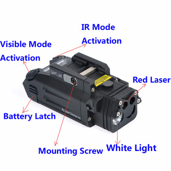 Hunting Tactical Flashlight DBAL-PL LED Flashlight With 400 Lumens Red Laser NV Illuminator and IR Light For Rifles hunting