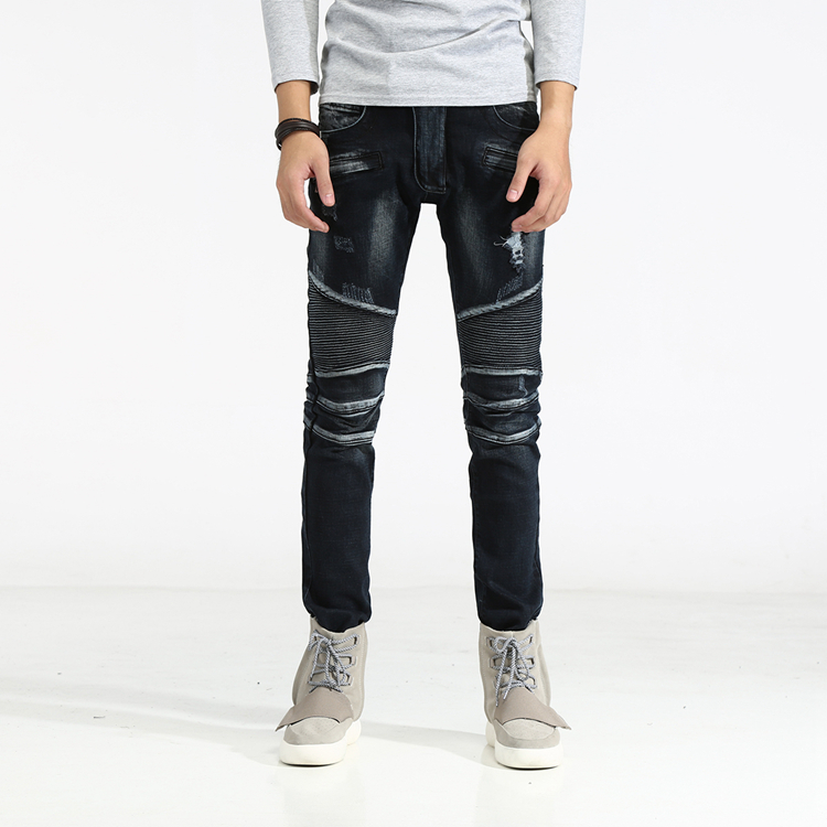 2017 new High Quality Jeans Men Classic Jeans Straight Full Length Casual Slim Elastic Skinny Denim Biker Ripped Jeans For Men 2 dsel brand men jeans denim white stripe jeans mens pants buttons blue color fashion street biker jeans men straight ripped jeans