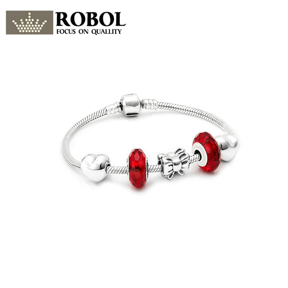 Здесь продается  ROBOL New Arrival 100% 925 Sterling Silver Bracelet For Women With Heart Safety Chain Charms Beads Fashion Jewelry Original  Ювелирные изделия и часы