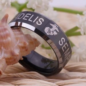 "Image 3 - YGK ארה""ב צבאי טבעת ארצות הברית חיל הנחתים ארה""ב צבא גברים חותם טבעת Comfort Fit USMC סמפר פידליס טונגסטן חתונה טבעת"