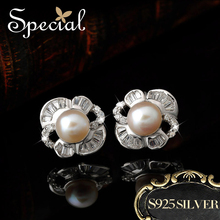 Special Chic Style Free Shipping Latest Design Of Pearl Earring S925 Silver Flower Ear Stud For Girl ED1411107