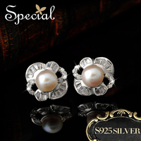 Special Chic Natural Pearls Stud Earrings 925 Sterling Silver Flower Earrings Ear Pins Pearl Jewelry Gifts for Women ED1411107