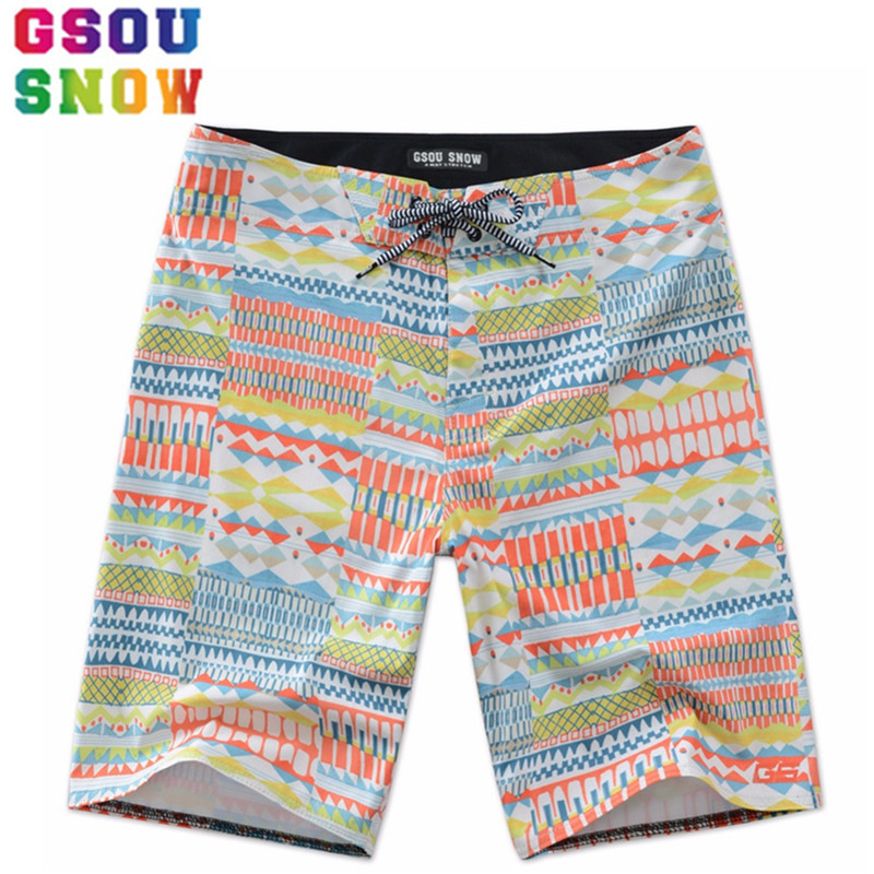 GSOU SNOW Brand Men Beach   Shorts   Quick Dry Printed Swimwear Summer Beach   Board     Shorts   Men Kite-surfing Motorboat Sports   Shorts