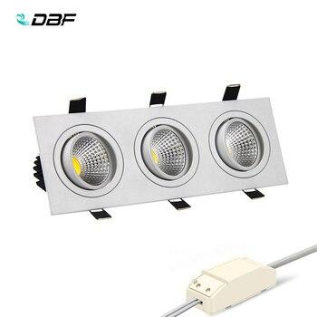 [DBF] Super Bright โคมไฟ LED หรี่แสงได้ 3 หัวสแควร์ดาวน์ไลท์ COB 15 วัตต์ 21 วัตต์ 30 วัตต์ 36w LED โคมไฟเพดานโคมไฟ AC 110V 220V