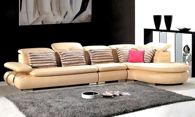 free shipping sofa modern design 2013 living room furniture top grain leather l shaped corner sectional sets11 furniture