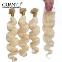 Guanyuhair Remy #613 блондинка Связки с закрытием перуанский объемная волна 3 Связки с кружевом Закрытие 100% натуральные волосы ткань