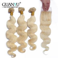 Guanyuhair Remy #613 Blonde Bundles With Closure Peruvian Body Wave 3 Bundles With Lace Closure 100% Human Hair Weave