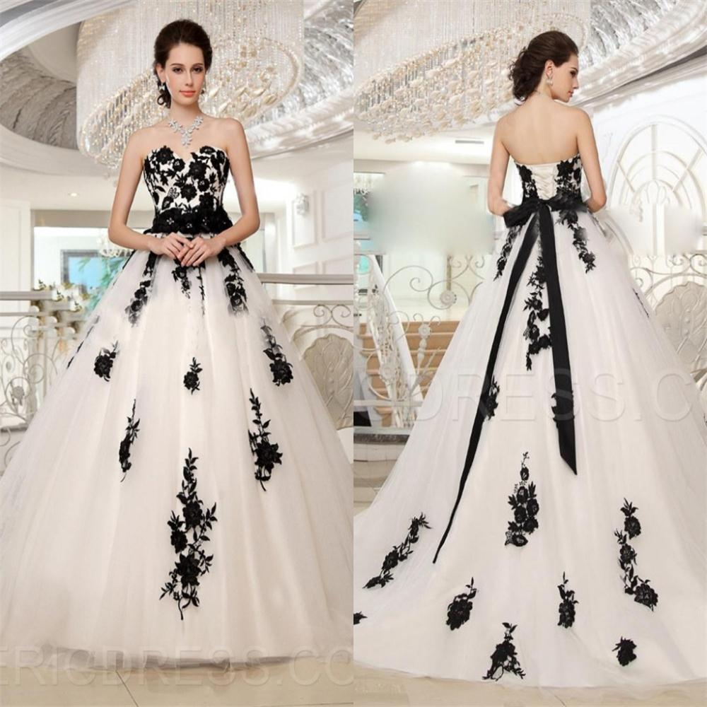 Romantic Plus Size Black And White Wedding Dresses Bride