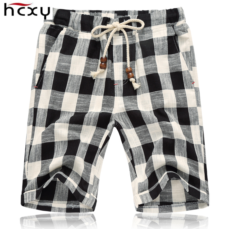 HCXY 2019 Summer Men's shorts Men Shorts Linen Cotton Elastic waist Mens Casual Shorts Male Striped Plaid Knee length