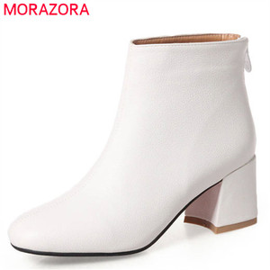 Image 1 - MORAZORA 2020 new arrival ankle boots women solid colors high heels shoes woman square to zipper autumn winter boots female