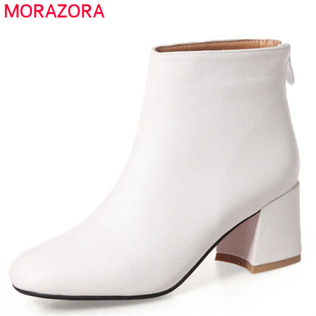 MORAZORA 2020 new arrival ankle boots women solid colors high heels shoes woman square to zipper autumn winter boots female