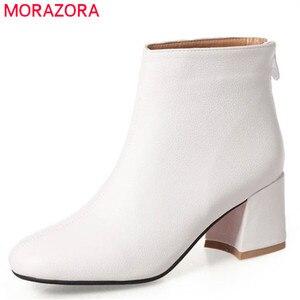 Image 1 - MORAZORA 2020 new arrival botki damskie jednolite kolory wysokie obcasy buty kobieta kwadratowe na zamek jesienne buty zimowe damskie