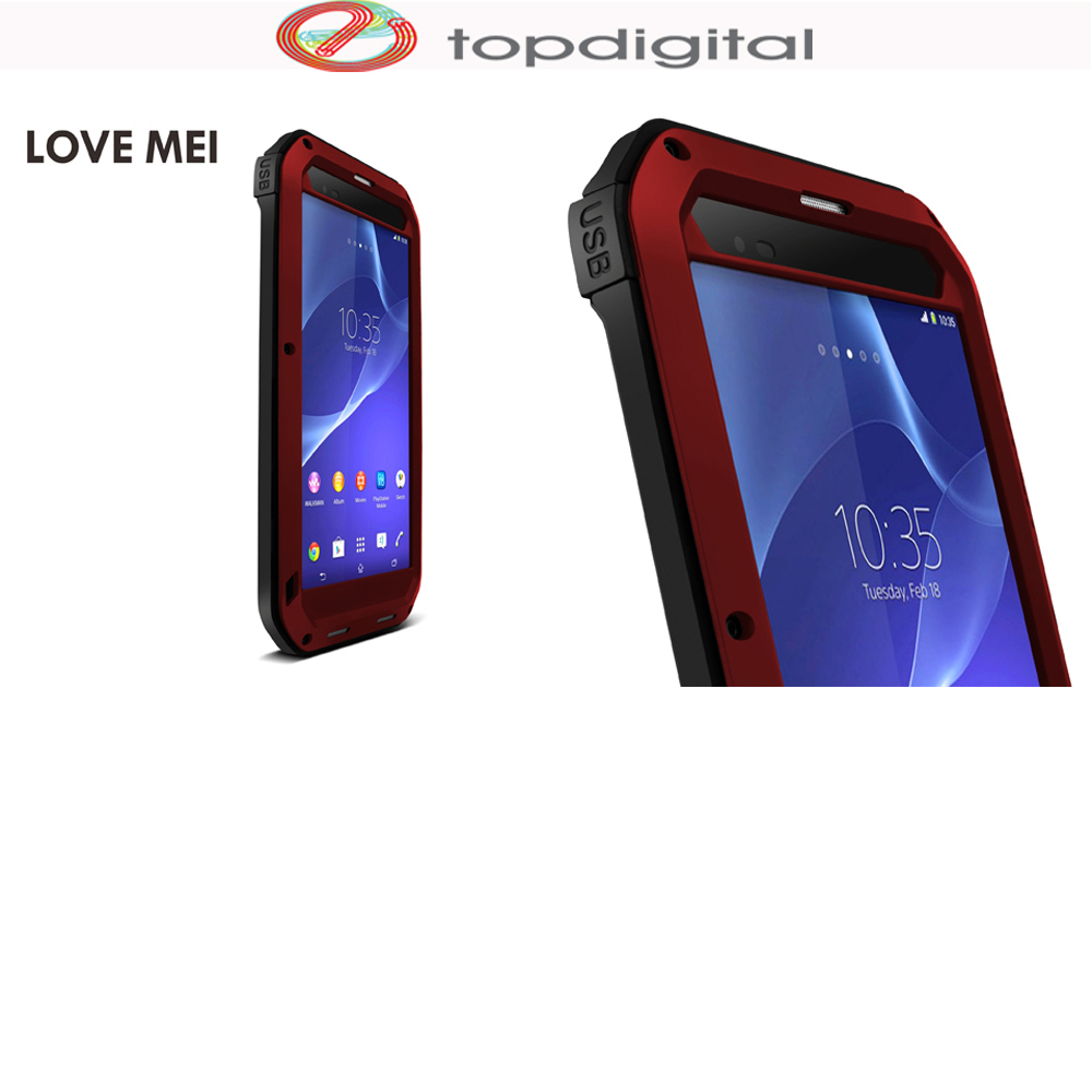 new product 1dd9b c926a US $31.11 |LOVE MEI Armor Shockproof Case for SONY Xperia T2 Ultra Powerful  Waterproof Shock Proof Metal Case Cover Full Tempered Glass-in Fitted ...