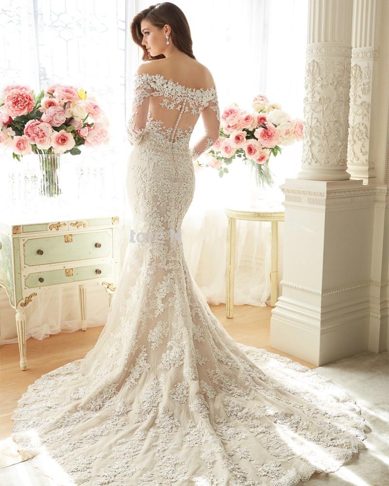 sheath scoop neckline sheer back ivory lace long wedding dress pwedsku sheer back wedding dress Sheath Scoop Neckline Sheer Back Ivory Lace Beaded Long Wedding Dress