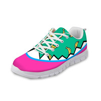 ThiKin Spring Cartoon Designs Women Low Top Sneakers Fruit Style Creative Ladies Stylish Mesh Flats Shoes Breathable Lace up