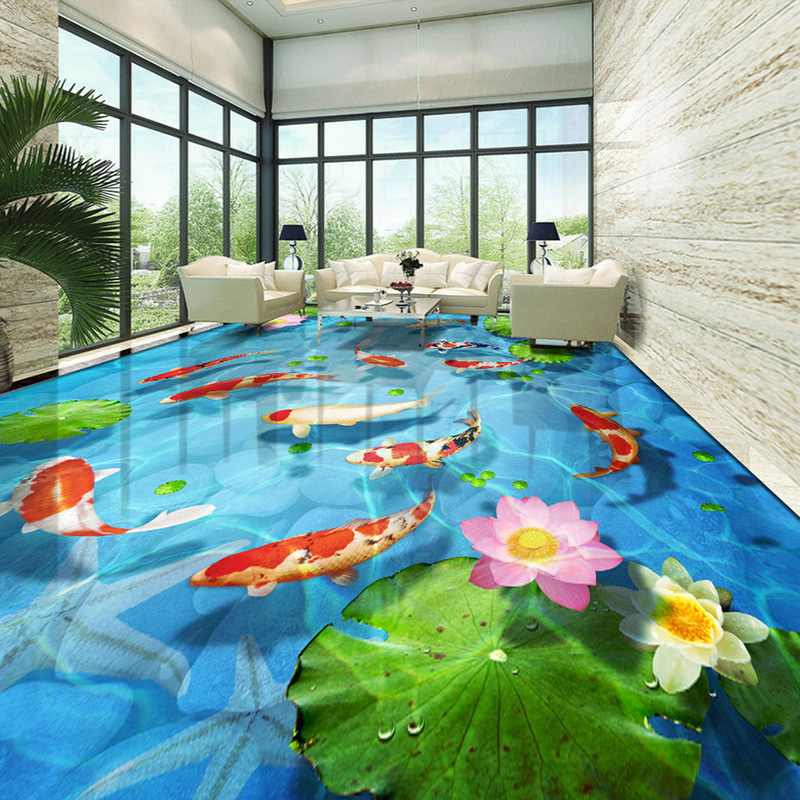 Custom Self-adhesive Floor Mural 3D Stereo Pebble Lotus Carp Floor Tiles Wall Painting Wallpaper Sticker PVC Bathroom Waterproof sannen 7l double decker cooler lunch bags insulated solid thermal lunchbox food picnic bag cooler tote handbags for men women