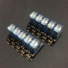 10 juegos de relé de potencia de bobina, minirelé LY2NJ 12VDC 24VDC 110VAC 220VAC 8 pines DPDT 10A LY2N J HH62P JQX 13F con Base de enchufe PTF08A