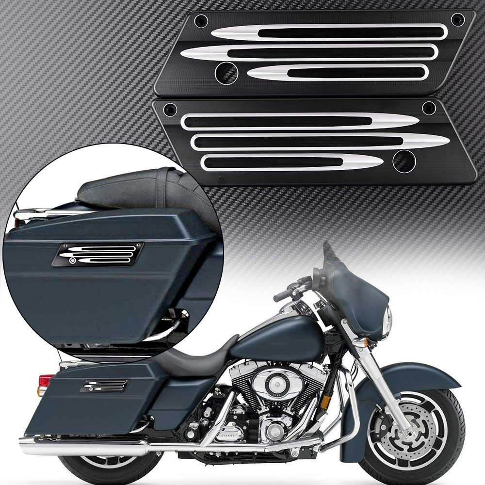 For Harley-Davidson Touring Hard Bags 1993-2013 CNC Black Anodized Billet Saddlebag Latch Cover Motorcycle rsd motorcycle 5 hole beveled derby cover aluminum for harley touring flh t 2016 2017 for flhtcul and flhtkl 2015 2016 2017