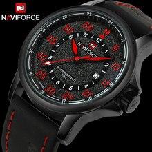 NAVIFORCE Marca Banda de Cuero Reloj de Cuarzo de Los Hombres Reloj Deportivo 30 M Impermeable Analógico de Pulsera Calendario Reloj Relogio masculino