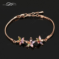 Unique Chic Colorful Flower Rhinestone Chain Bracelets & Bangles Rose Gold Color Jewelry For Women Crystal Wholesale DFH021