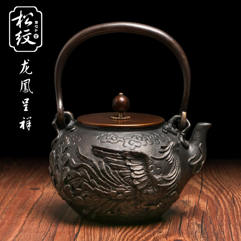 Phoenix and dragon pattern retro exquisite cast iron teapot japanese style handmade tea pot - Cast iron teapot dragon ...