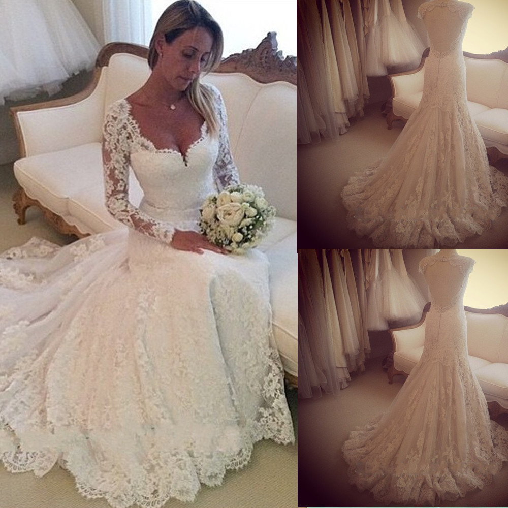 Aliexpress Buy Custom Made Vestido De Noiva Sweetheart Long Sleeves Lace Wedding Dress Open Back Sexy Gowns BO7158 From Reliable