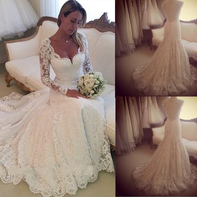 Custom Made Vestido De Noiva Sweetheart Long Sleeves Lace Wedding