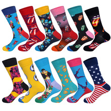LIONZONE Newly 12Pairs/Lot Casual Fashion Combed Cotton for Men Streetwear Hip Hop Personality Designer Funny Happy Socks