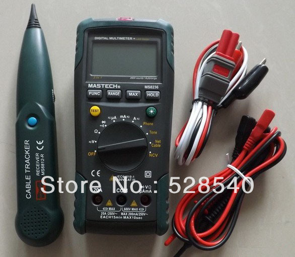 MASTECH MS8236 Digital Auto Range Multimeter LAN Tester Net Cable Tracker Tone Telephone line Check Non-contact Voltage Detect 1 pcs mastech ms8269 digital auto ranging multimeter dmm test capacitance frequency worldwide store