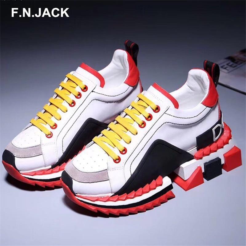 F. N. JACK hommes chaussures hommes espadrilles décontractées tendance respirant véritable vache en cuir chaussures hommes de mode en caoutchouc baskets