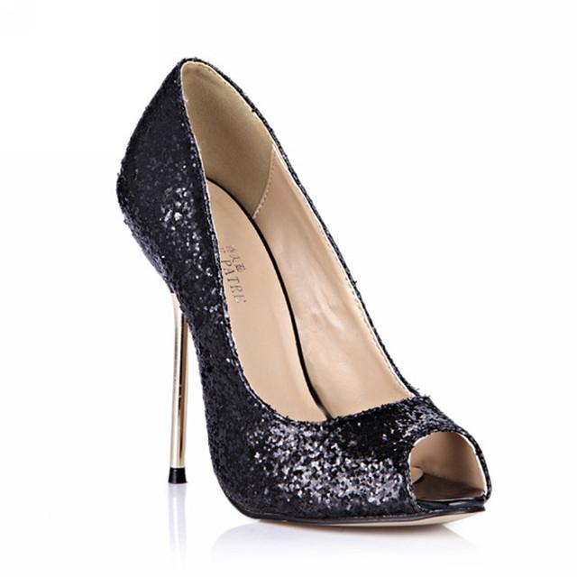 Plus Size Casamento Sapatos Peep Toe Mulheres Sandálias Sexy Estrela Dos Saltos Altos Das Senhoras Sapatos Femininos Sapatos de Verão Salto Fino Bomba