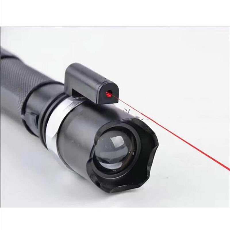 Laser And Lighting 2 in 1 XML Cree T6 LED Flashlight Aluminium Alloy Torch Zoomable With