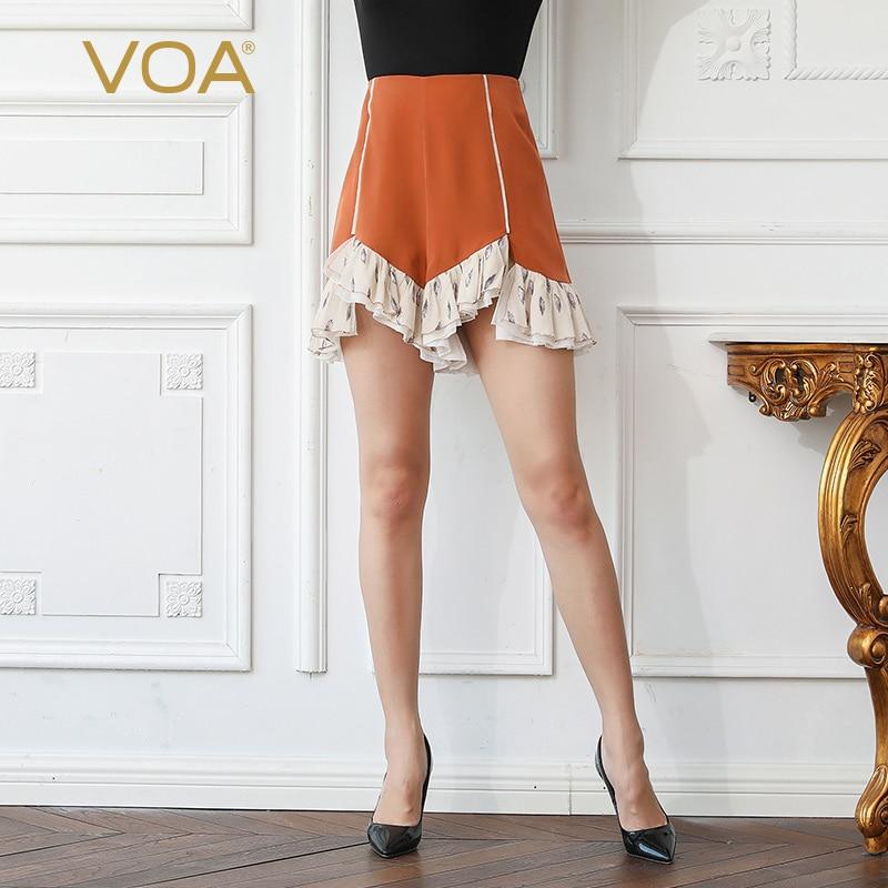 VOA Heavy Silk Shorts Szorty Women Plus Size 5XL Spodenki Ruffle Summer Harajuku Casual Basic Sexy High Waist Short Femme K615