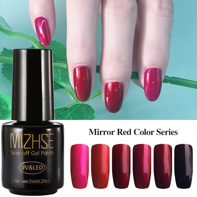 Mirror Effect Gel Nail Polish: MIZHSE 7ml Mirror Red Gel Nail Polish RMetallic Mirror