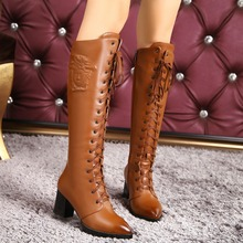 2016 New winter fashion lace up genuine leather boots shoes brown high heels women's knee high boots sheepskin motorcycle boots