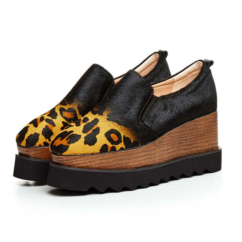 ФОТО Fashion Women Brand Shoes Leopard Wedges Lady Horse Hair Genuine Leather Square Toe Loafers Increased Platform Casual Shoes 8-1
